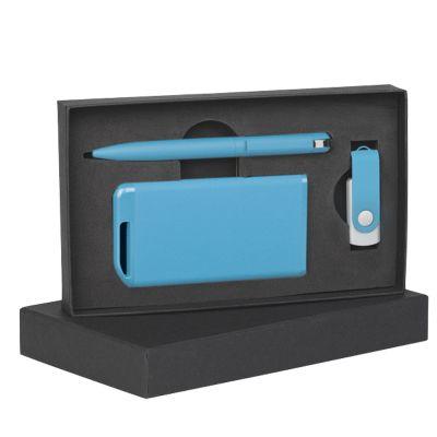 Набор ручка + флеш-карта 16Гб + зарядное устройство 4000 mAh в футляре покрытие soft touch, голубой