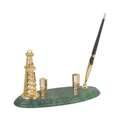 Подставка под визитки Нефтяная вышка с ручкой, золотистый с зеленым