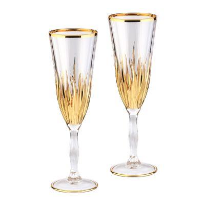 Набор для шампанского, 6 фужеров, золотистый