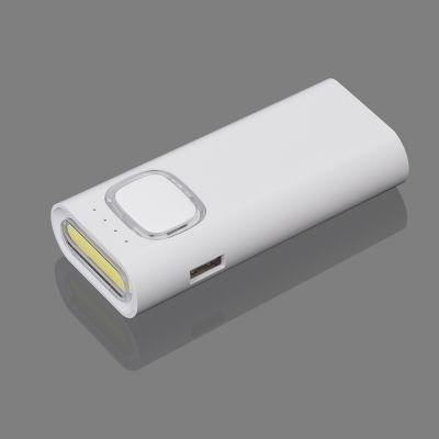 Зарядное устройство с ультраярким LED-фонариком и подсветкой логотипа, 4400 mAh, белый