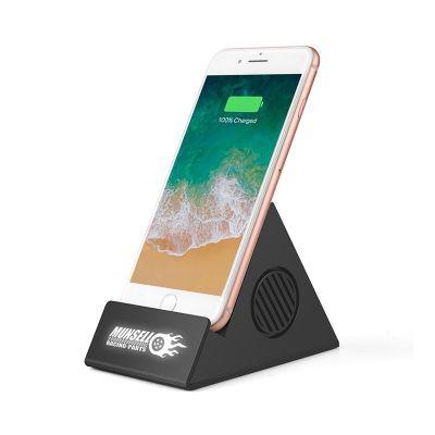 Bluetooth колонка-подставка 3Вт с беспроводным зарядным устройством и подсветкой логотипа, черный