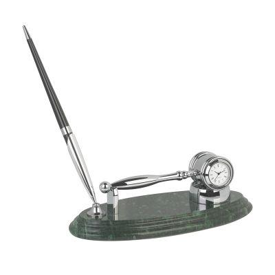 Подставка Правосудие с часами и ручкой, серебристый с зеленым