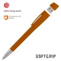 Ручка с флеш-картой USB 8GB «TURNUSsoftgrip M», оранжевый