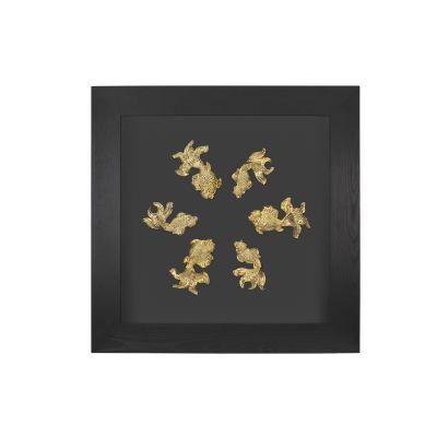 Картина Золотые рыбки, черный с золотом