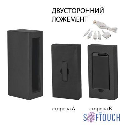 Набор зарядное устройство Theta 4000 mAh + флеш-карта Case 8Гб  в футляре, покрытие soft touch, черный с золотом