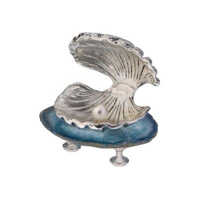 Скульптура Жемчужина, серебристый с синим