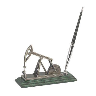 Подставка Нефтяная качалка с ручкой, серебристый с зеленым