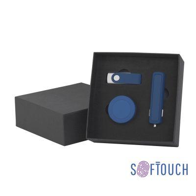 Набор автомобильное ЗУ Slam + флешка Vostok 8 Гб + магнитный держатель Allo, soft touch, темно-синий