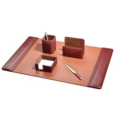 Набор настольный из 5 предметов, кожа, коричневый