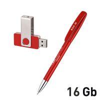 Набор ручка + флеш-карта 16Гб в футляре, красный