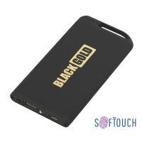 Зарядное устройство Theta с фонариком, 4000 mAh, покрытие soft touch, черный с золотом