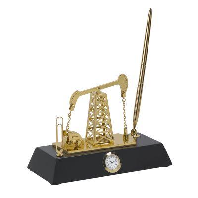 Подставка с часами Нефтяная качалка, золотистый