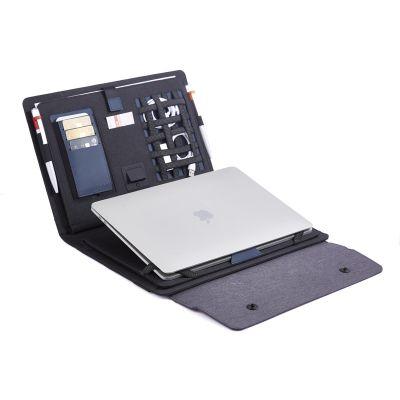 Мобильный офис с беспроводным зарядным устройством 5000 mAh, серый с черным