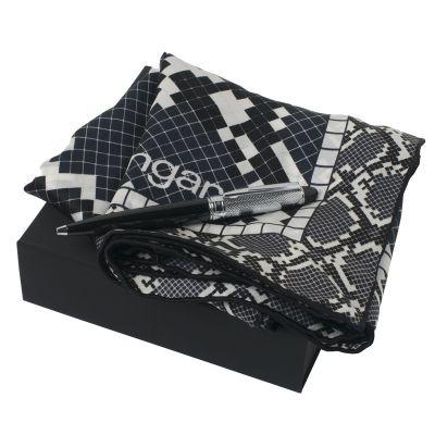 Набор (платок шелковый, ручка шариковая), черный с серым