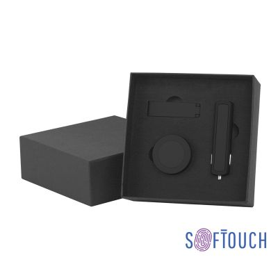 Набор автомобильное ЗУ Slam + флешка Case 16 Гб + магнитный держатель Allo, soft touch, черный