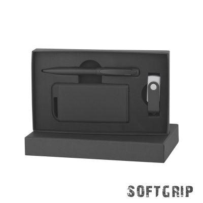 Набор ручка + флеш-карта 8Гб + зарядное устройство 4000 mAh в футляре, покрытие softgrip, черный