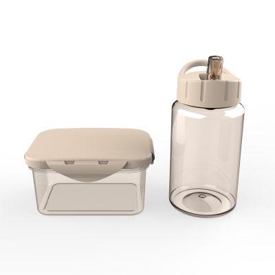 Набор подарочный (контейнер для ланча, бутылка для воды), молочный