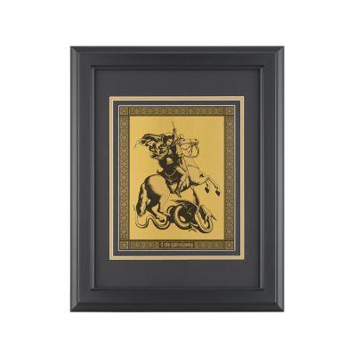 Картина Георгий Победоносец, черный с золотом