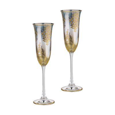 Набор для шампанского Менье, 2 фужера, синий с золотом