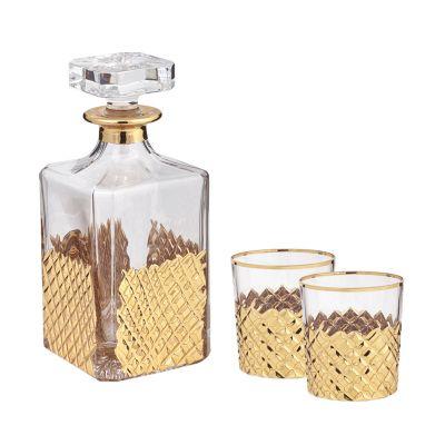 Набор для виски, графин, 2 стакана, золотистый