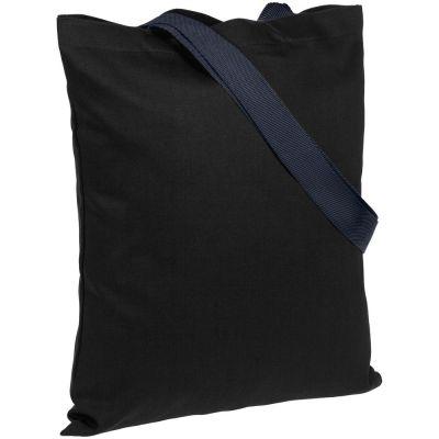 Холщовая сумка BrighTone, черная с темно-синими ручками