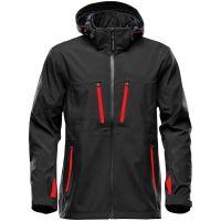 Куртка софтшелл мужская Patrol, черная с красным