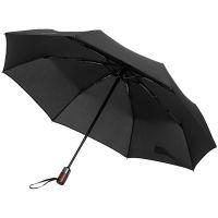 Складной зонт Wood Classic S с прямой ручкой, черный