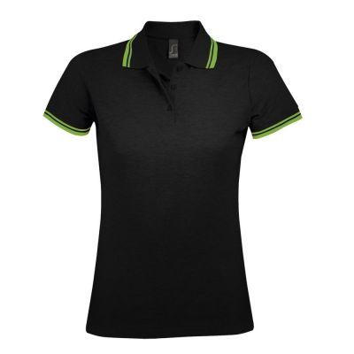 Рубашка поло женская PASADENA WOMEN 200 с контрастной отделкой, черная с зеленым