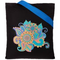 Холщовая сумка «Узор», черная с ярко-синими ручками