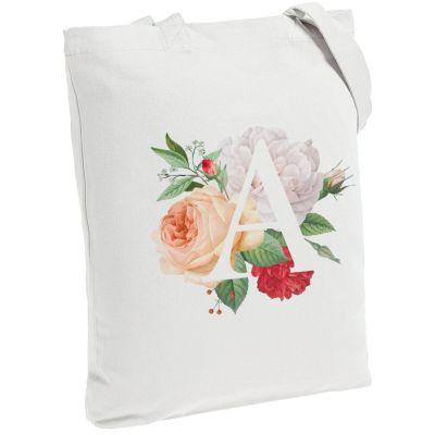 Холщовая сумка «Цветочная азбука: А», молочно-белая