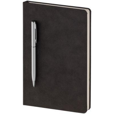 Блокнот Magnet с ручкой, черно-серый