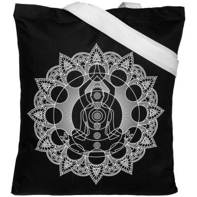 Холщовая сумка Chakraday, черная с белыми ручками