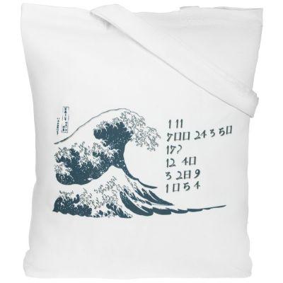 Холщовая сумка «Цифровые стихи. Японская поэзия», молочно-белая