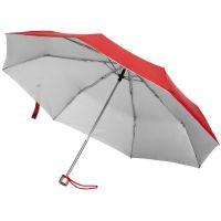 Зонт складной Silverlake, красный с серебристым
