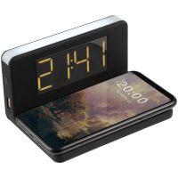 Часы настольные с беспроводным зарядным устройством Pitstop, черные