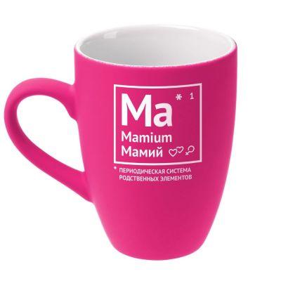 Кружка «Мамий» c покрытием софт-тач, ярко-розовая (фуксия)