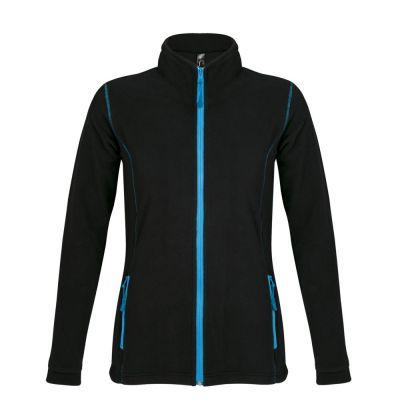Куртка женская NOVA WOMEN 200, черная с ярко-голубым