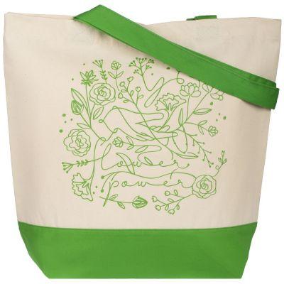 Холщовая сумка Flower Power, ярко-зеленая