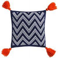 Подушка Levin, сине-белая с оранжевыми кистями