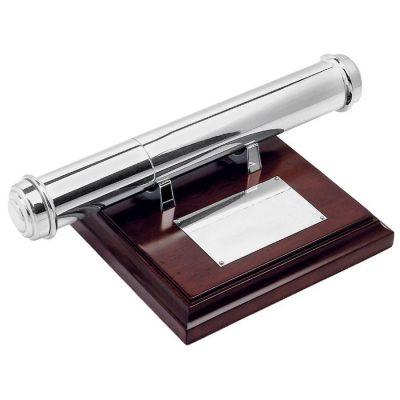 Тубус для наградных бумаг, коричневый, серебристый