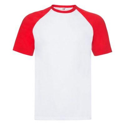 Футболка мужская SHORT SLEEVE BASEBALL T 160, красный, белый