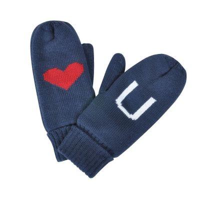 Варежки 'LOVE YOU' с теплой подкладкой, синий