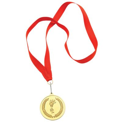 Медаль наградная на ленте 'Золото'; 48 см., D=5см.; текстиль, латунь; лазерная гравировка, шелкограф, красный, золотистый