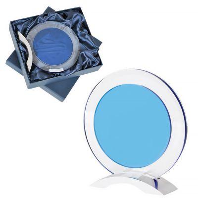 Стела наградная 'Round' в подарочной упаковке, прозрачный, синий