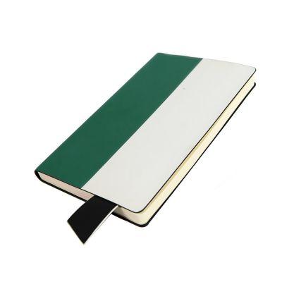 Бизнес-блокнот UNI, A5, бело-зеленый, мягкая обложка, в линейку, черное ляссе, белый, зеленый