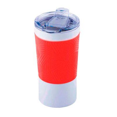 Термокружка вакуумная 'Funny' белая, красная, силикон, красный