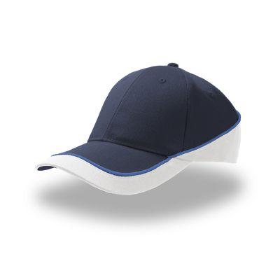 Бейсболка RACING, 6 клиньев, застежка на липучке, темно-синий, белый