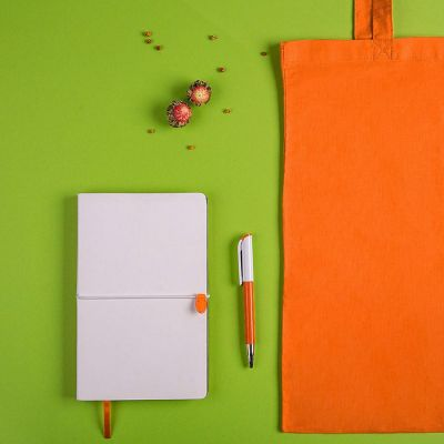 Набор подарочный WHITE&YOU: бизнес-блокнот, ручка, сумка, белый, оранжевый