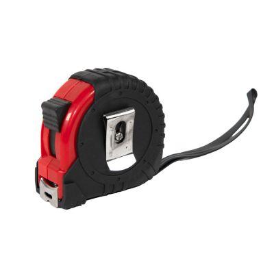 Рулетка пластиковая, 5 м., с металлическим клипом, черный, красный