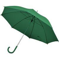 Зонт-трость с пластиковой ручкой, механический, зеленый